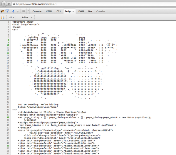 Nice move by @Flickr, looking to recruit devs by placing an ad in their source code - http://t.co/QhiI3BbS5M