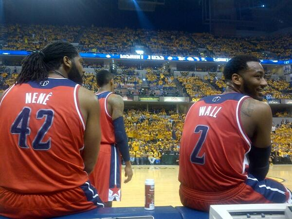 Michael Lee (@MrMichaelLee): Another TV timeout. Fan told John Wall he wanted him to sit down & get more rest. Wall: