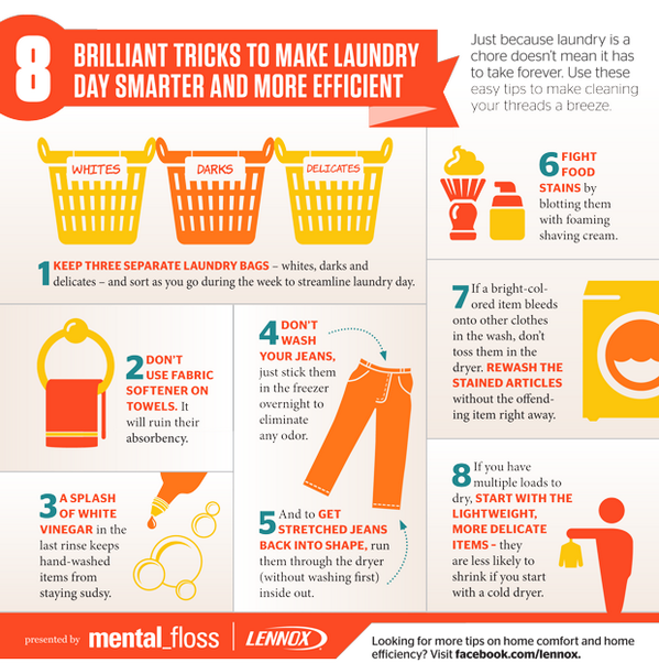 8 Brilliant Tricks to Make Laundry Day More Efficient (presented by @LennoxAir) http://t.co/iE4F8ULXHO