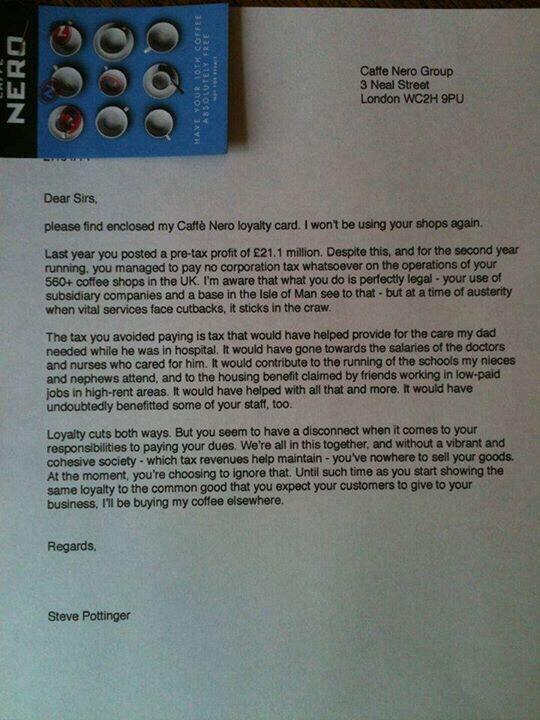 What a way to return a loyalty card. #CafeNero #PayNoTax #SoOthersHaveToPayMore http://t.co/Lpbq4ZNDLK