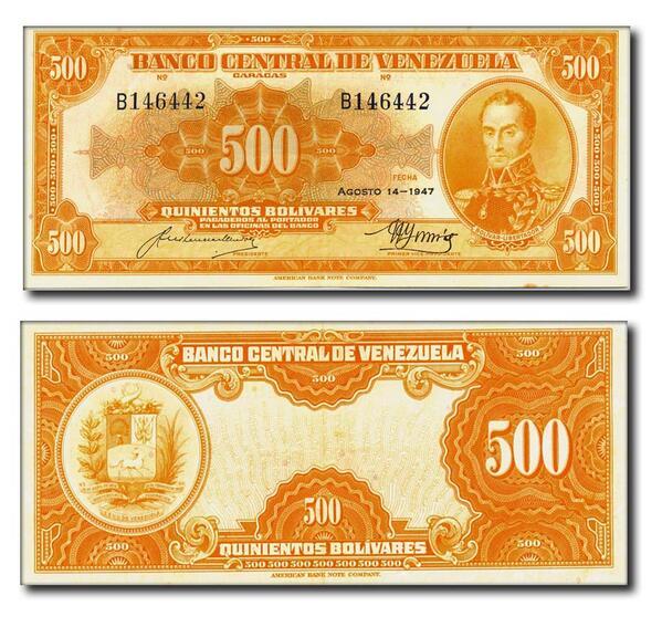 """Billete de 500 Bolívares de 1947. En su época se le llamaba popularmente """"Canario"""" y equivalía a 149.25$ http://t.co/bMxKlFSKWB"""