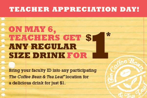 All day today, teachers get any regular sized beverage for just $1. This is our way of showing our appreciation! http://t.co/OzhfaotHP9