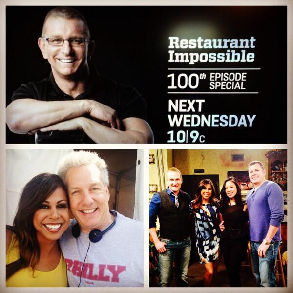 100th episode #RestaurantImpossible tomorrow! TELL ALL! @RobertIrvine @Cher_Torrenueva @lynnkegan @TomBury1 @Ibatvmc http://t.co/EFhsINGequ