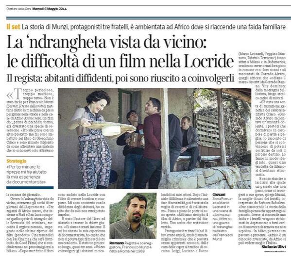 Francesco Munzi racconta sul Corriere il #film #Animenere dall'omonimo romanzo di @gioacchinocriac http://t.co/OXFgBTu9LL