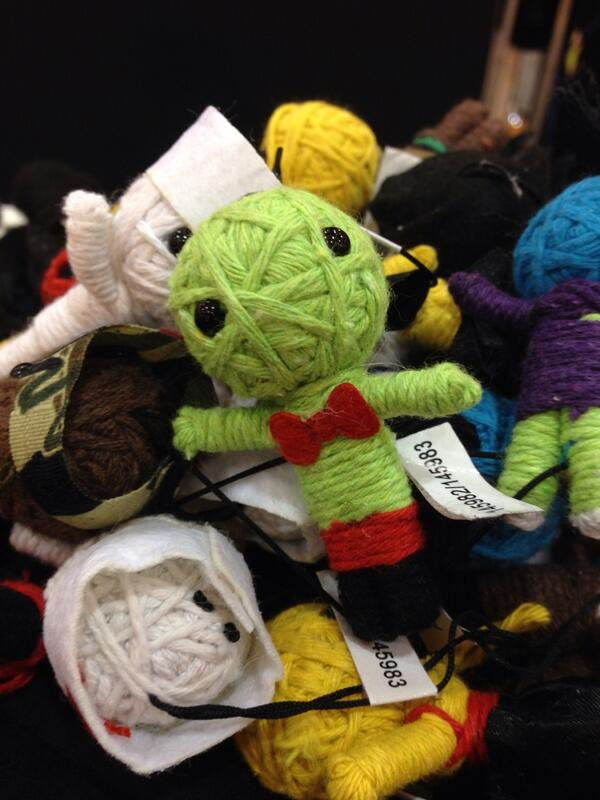 We've got voodoo dolls, bow ties, and voodoo dolls wearing bow ties. Come visit @visagemobile at #CF2014 http://t.co/P0suQHWiIf