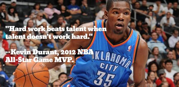 """Hard work beats talent when talent doesn't work hard."" @KDTrey5 Congrats KD! #MVP http://t.co/WcZ9c9ybS0"
