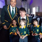 The new Springbok jersey from ASICS is unveiled . Young kids model the jersey and meet their Bok heroes. @bokrugby http://t.co/0gYSqkEr9W