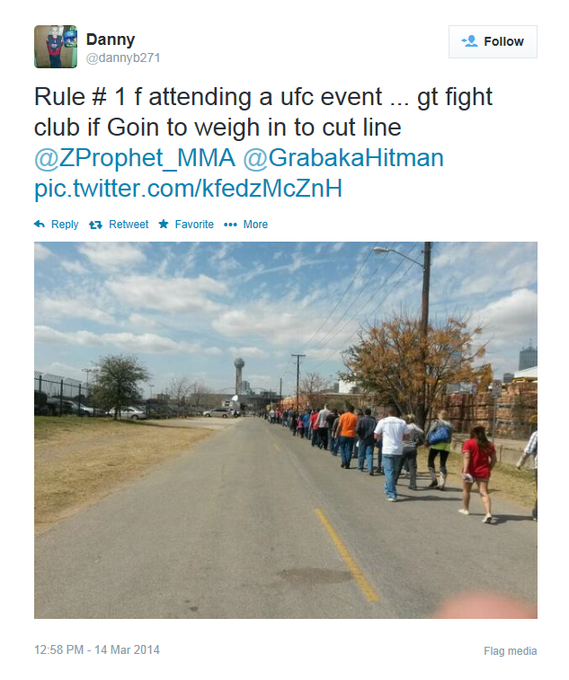 #TBT #UFC171 weigh-in line! Don't let this happen @ #UFC172! Join #UFCFightClub and you won't have to deal with this! http://t.co/qFqev2HVzY