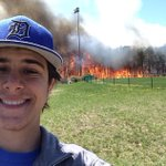 Student takes a selfie during fire. It was taken at the baseball field behind intermediate south @AsburyParkPress http://t.co/plmy4ckQkk