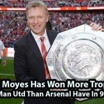 RT @SirAlexStand: MANAGER: DAVID MOYES DURATION: 9 MONTHS TROPHIES WON: 1 MANAGER: ARSENE WENGER DURATION: 9 YEARS TROPHIES WON: 0 :) http://t.co/tbYtFtdbna