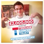RT @TeenageCancer: Not only did you help #stephensstory reach his target, youve helped him smash it! £2 million https://t.co/Fx51qDcZDs http://t.co/5nSSvpkqEl