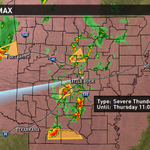 Severe Thunderstorm Watch until 11pm for AR. Main threat is going to be hail & strong wind with these storms. #ARWX http://t.co/BmV4f3JbQM