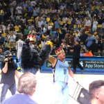Halfcourt at the Grizzlies-Thunder NBA playoff game! Chairshot to a Thunder fan! http://t.co/KIMQd71x4I