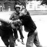 A freed Jewish prisoner expresses his rage and beats a German guard after liberation of Dachau Concentration Camp http://t.co/xOScAX6pR5