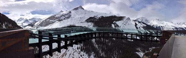 Working on a cool story for tomorrow on the new @brewstercanada Glacier Skywalk-not for the faint of heart! #jasper http://t.co/8zvLuJF4vY