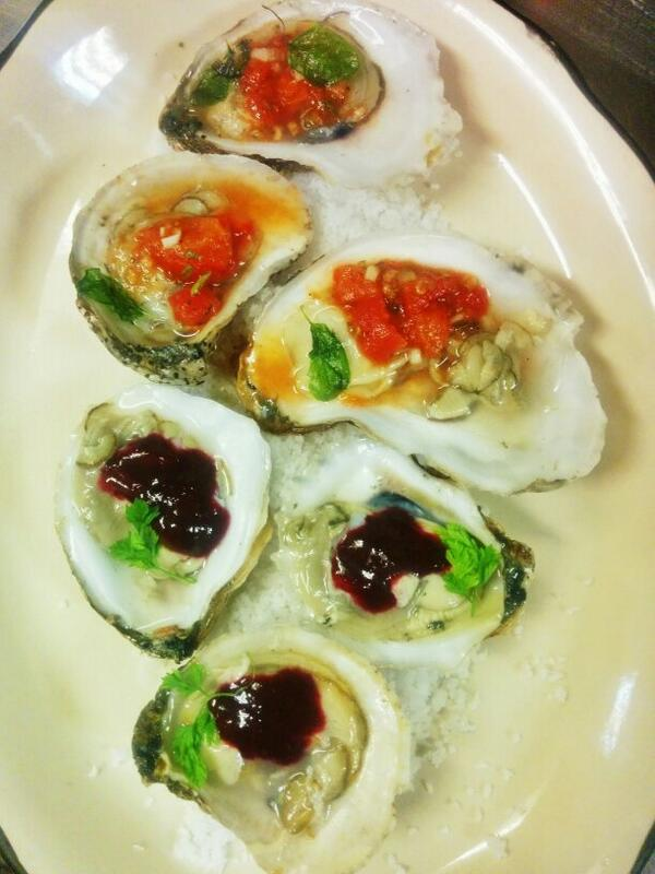 """Dear god... """"@spirocks: Oyster time w/blueberry mignonette and smoked tomato mignonette @Andolinis01810 http://t.co/trjNHhsaUW"""""""
