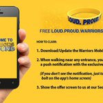 And in addition to the foam fingers, make sure to grab a gold LOUD.PROUD.WARRIORS bracelet via #Warriors Mobile App: http://t.co/deIxfT6HuH
