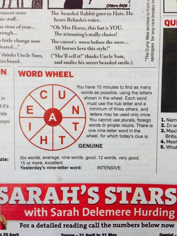 Today's Word Wheel quiz in the Irish Independent. I'm still struggling to get a single word.., http://t.co/QlaB5HL9ea