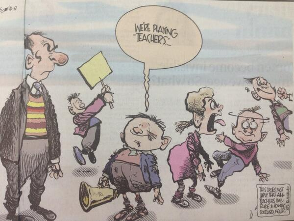 Martyn Turner is spot on again today. Love his 'disclaimer' that this does not imply all teachers act the same way http://t.co/XuuyDCbZjA