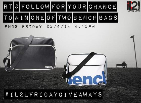 It's competition time again at IL2L! RT @ follow for your chance to win one of two Bench bags #IL2Lfridaygiveaways http://t.co/o4zKyRQK7L