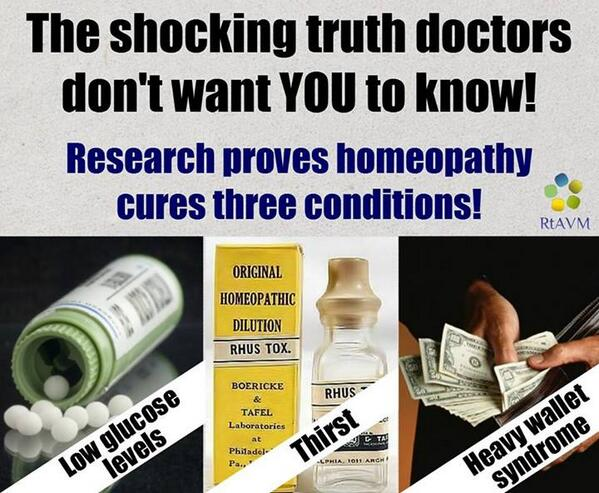 Research proves homeopathy actually cures three conditions: h/t https://t.co/moCHutuW8q http://t.co/G6r89WDVcY