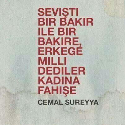 Erkeğe Milli Dediler Kadına Fahişe. Cemal Süreyya. http://t.co/BAjMEDDZOS