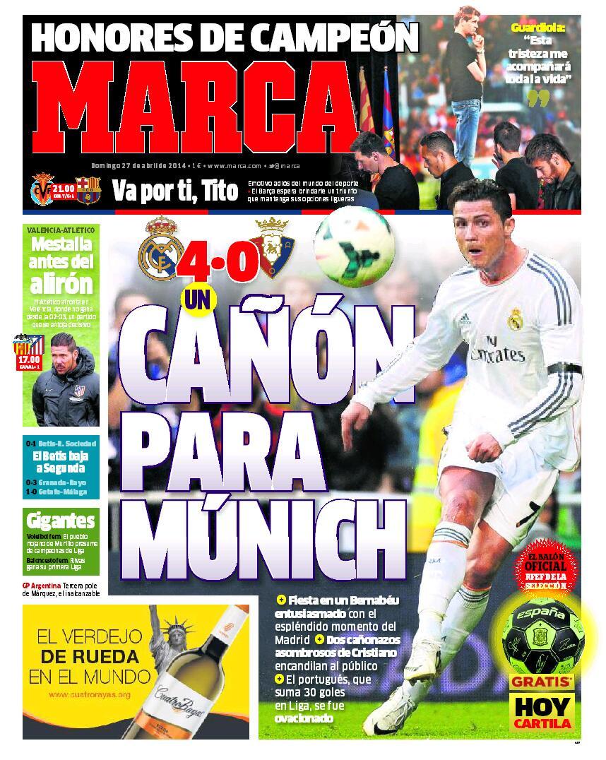 "'Cañón para Múnich"" #LaPortada http://t.co/kDMLYdITGt"