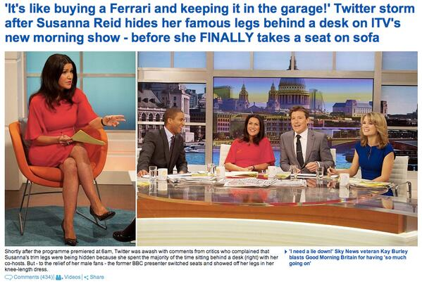 "The Mail Online is currently leading with the Twitter OUTRAGE over not being able to see Susanna Reid's ""famous legs"" http://t.co/YWS8WYKwic"