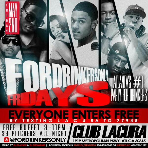 Party for Free Friday @ #ClubLacura! Just Text LACURA to 33733! http://t.co/w9f0dQTRsJ !!!!