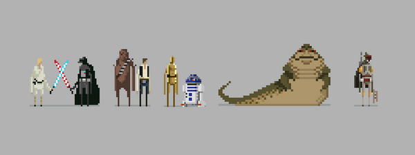 Star Wars lineup. Early on in my pixel art exploration, pulling STRONGLY from Superbrothers at this point. #pixelart http://t.co/BGROm1fW0m