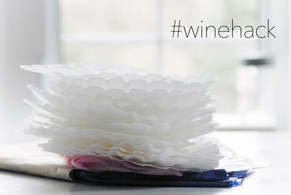 Dry your wine glasses with coffee filters for a streak-free shine! #winehack http://t.co/By0RLl2sPp