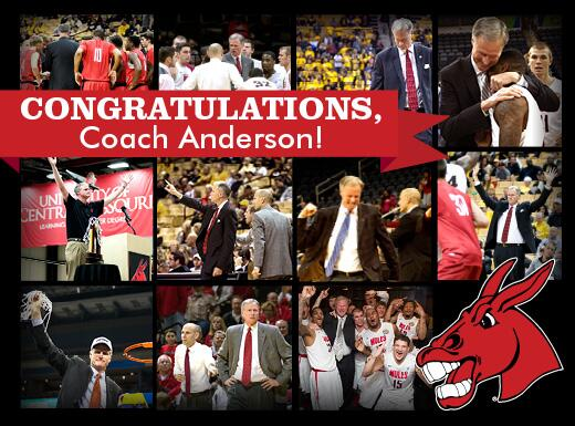 Congrats to Coach Anderson, the next head basketball coach @Mizzou. Best of luck! You leave a great legacy at #UCM. http://t.co/3kPO1D51RG