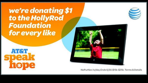PLEASE RT #ATTSpeakHope & @ATT will donate $1 to @HollyRodFDN #ad (up to $25K) thru 6/30 See http://t.co/hYrMMVlY7t! http://t.co/qVVJf7xIoy