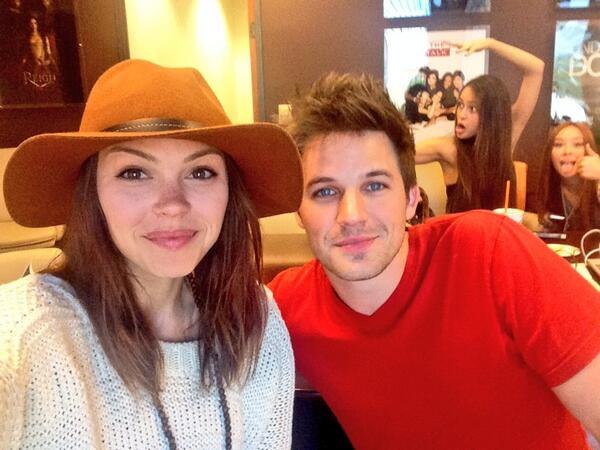 #Romery getting photo bombed - @MattLanter @chellygilligan @xoMalese #StarCrossed http://t.co/nbL8jWHjFO