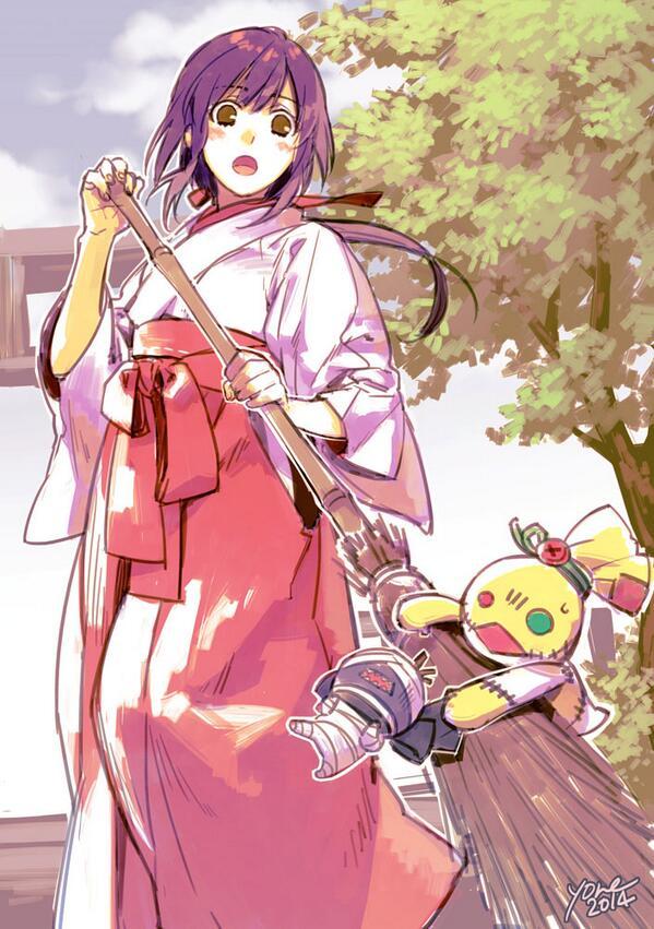 結衣ちゃんちはあんなおっきい神社なので暮れ正月とかは巫女さん姿でお家の手伝いするのかなという妄想 #kamiaso http://t.co/FvUIy0Bs3x