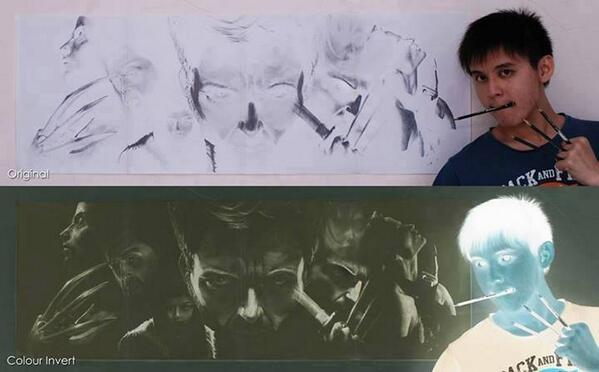 This is the art of Brian Lai, he draws in negatives: http://t.co/M7uidjkje2