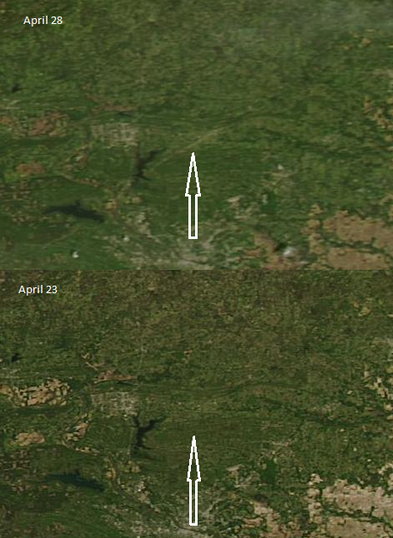 NEW: looks like MODIS satellite captured scar from Mayflower-Vilonia, AR #tornado on Sun #ARwx [H/T @chrisdolcewx]