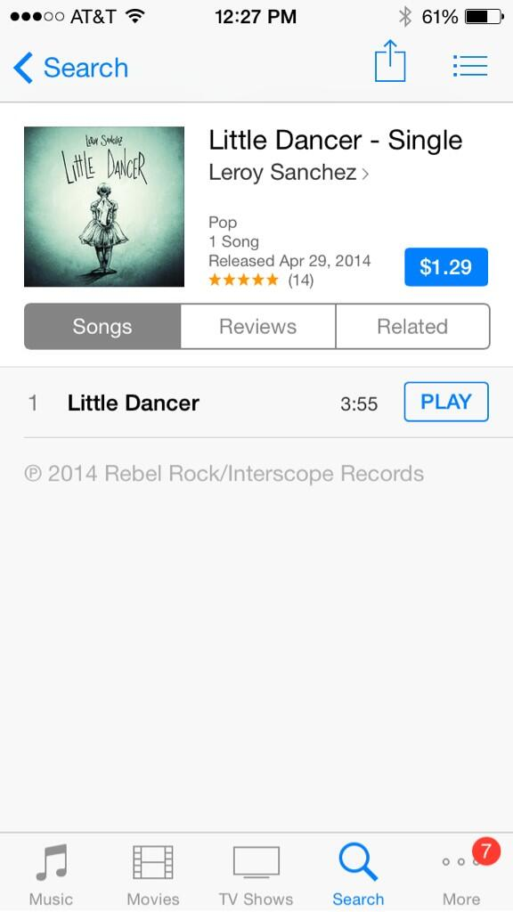 Everyone go right now and buy  @iamleroysanchez #LittleDancer on  iTunes: http://t.co/iQZx8OKV03 #Star