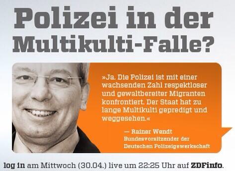 ZDFlogin (@ZDFlogin): Rainer Wendt antwortet auf die Frage, ob die Polizei in der Multikulti-Falle steckt übrigens SO: #ZDFlogin http://t.co/HyuYI1MNvo