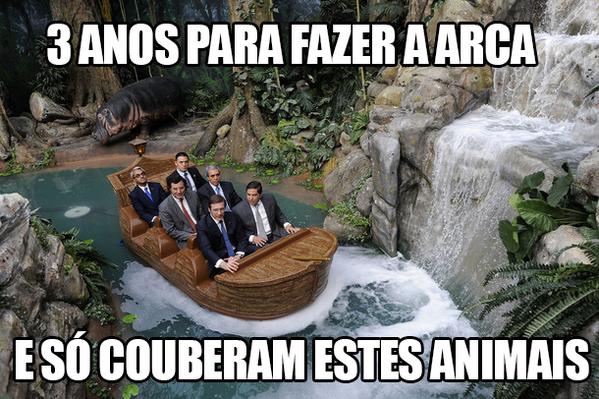 #meme #passoscoelho #barco ... 3 anos para fazer a arca e só couberam estes animais. http://t.co/Idw0ezHY2G