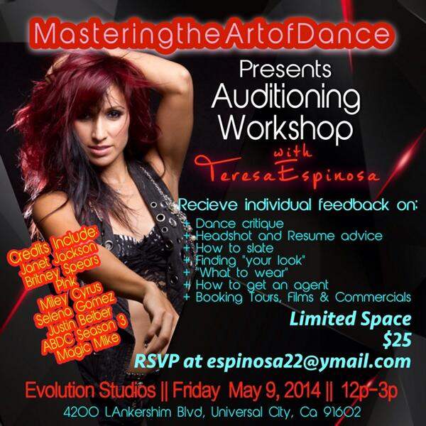 THIS FRIDAY 5/9/14 I'm teaching a WORKSHOP on how to advance you AUDITIONING skills! Li...  http://t.co/RNINyIEjK3 http://t.co/YRbWngFXJj
