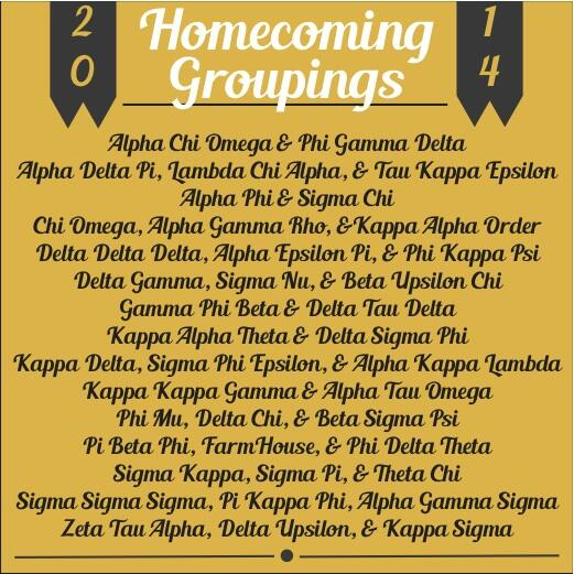 Here are our 2014 Homecoming Greek Groupings! Good luck to all chapters participating! #MIZ103HC http://t.co/s6AQqG0D1B