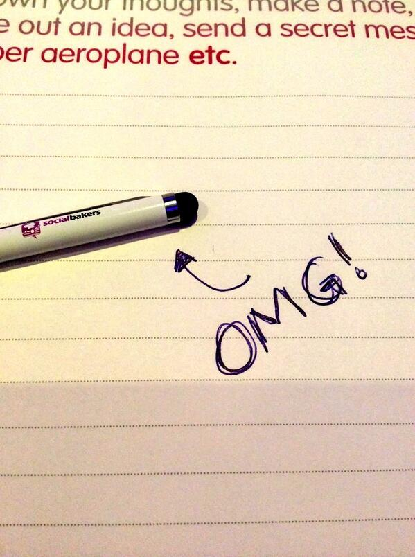 PEOPLE OF #ENGAGE2014 - the @socialbakers pen is NO simple pen.  Turn it round and get tablet joy...  #AwesomeSauce http://t.co/qXPYarHQbs