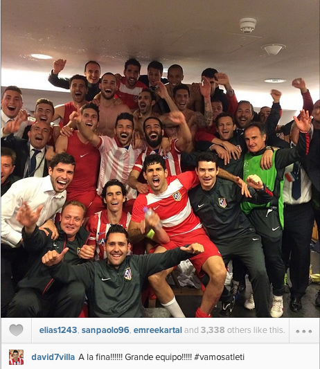 Atletico Madrid post celebratory dressing room group photo after beating Chelsea to qualify for CL final