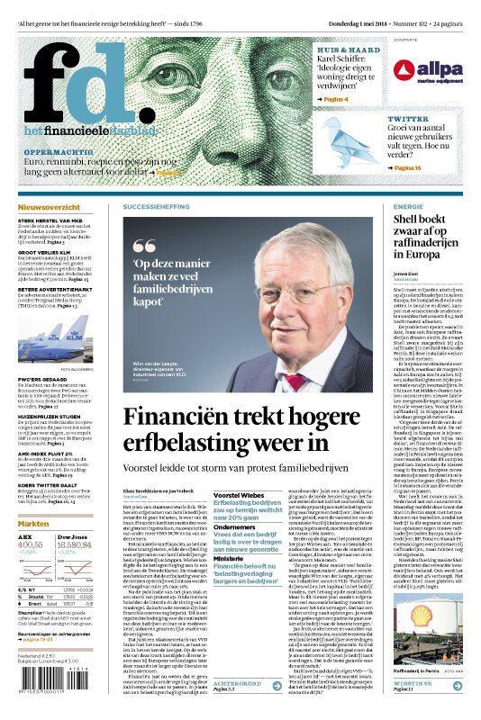 """En terecht!!!!!!! #familiebedrijven """"@FD_Nieuws: Donderdag in het FD: Financiën trekt hogere erfbelasting weer in http://t.co/s9jR5dbU9F"""""""
