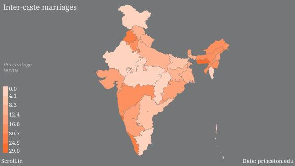 Punjab, Goa, Kerala & Meghalaya at the top MT @DilliDurAst A map of inter-caste marriages in India http://t.co/8qa05I1FjU