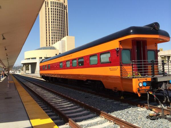 Beautiful pic! RT @eye_tee: Classic car ready for #nationaltrainday at LA #UnionStation @Amtrak_CA http://t.co/9YlD3JUEsg