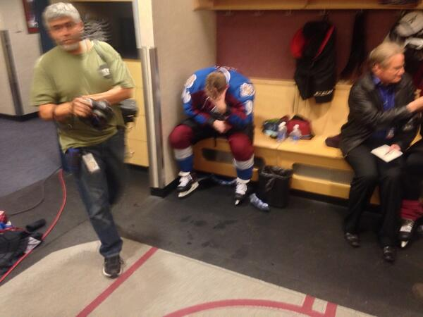 I'm sure the referee locker room looks just as disappointed. RT @adater: This picture tells the story in Avs room http://t.co/7IBNx7AXao