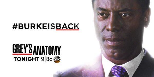 Tonight on #GreysAnatomy, #BurkeIsBack! http://t.co/hfJWxNLxBk