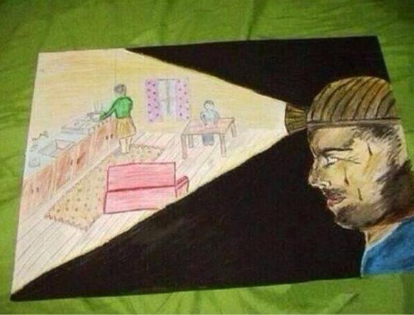 Babası maden işçisi olan bir çocuğun çizdiği resim... http://t.co/NIdyYGVRzH